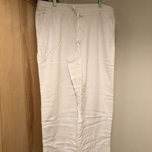 NWT Old Navy linen/rayon blend wide leg white pant